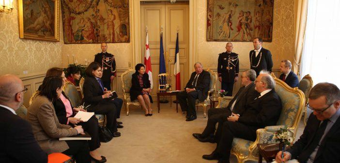 საქართველოს პრეზიდენტი საფრანგეთის სენატის პრეზიდენტს, ჟერარ ლარშეს შეხვდა